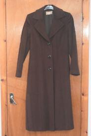 Martellini Brown long winter coat size 12 (Made in Italy - 70% Alpaca Wool)