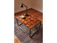 Handmade Bespoke Industrial Coffee Table Reclaimed Parquet