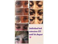 Individual Eyelash Extensions **Offer £15 full set & £10 Infils!**