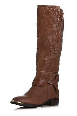 Presley Brown Leather - Sam Edelman Presley Boot Whiskey wrinkled Brown leather harness chocolate knee