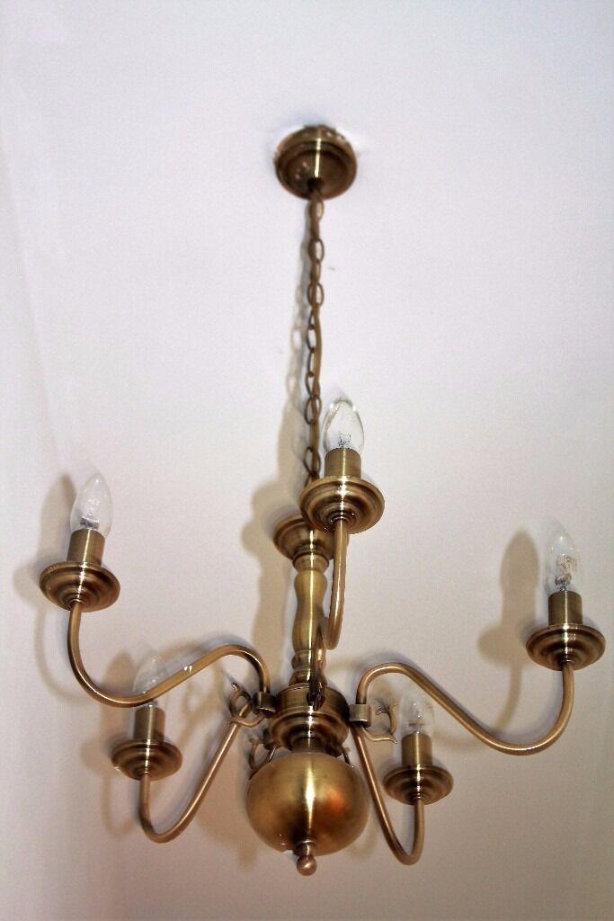 Vintage Antique Chandeliers SET PAIR Brushed Brass 3 Arm 5 Arm ...:Vintage Antique Chandeliers SET PAIR Brushed Brass 3 Arm 5 Arm Ceiling  Light Pendant,Lighting