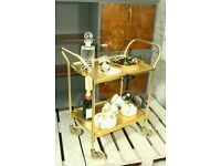 Gold 2 tier vintage bar cart/drinks trolley