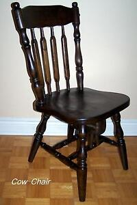 COW CHAIR, large, sturdy, all wood, turnings, dark walnut stain