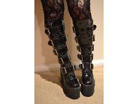 Gothic platform buckle boots size 6 6.5 Demonia Transmuters TUK Cyber Punk