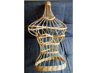 Vintage Female Wicker Mannequin Bust Torso Retail Display Prop Shop Window