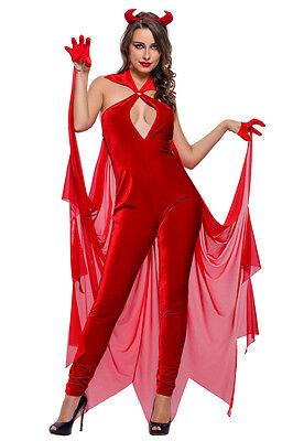 Disfraz Halloween (DISFRAZ DE DEMONIO DIABLA PARA MUJER ENTERIZO ROJO CUERNOS Y GUANTES  HALLOWEEN )