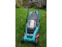 Bosch Rotak 34 LI cordless lawnmower, with charger