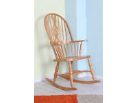 ROCKING CHAIR ERCOL STYLE SOLID BEECH IN LOVELY CONDITION - CAN COURIER