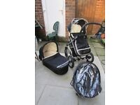 3 in 1 pram for sale dark blue colour good clean condition