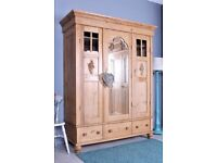 DELIVERY OPTIONS - BEAUTIFUL OLD QUALITY TRIPLE PINE WARDROBE DRAWERS SHELVES