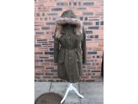 Pre-worn Ladies' long khaki/green parker coat, Asos, size 10