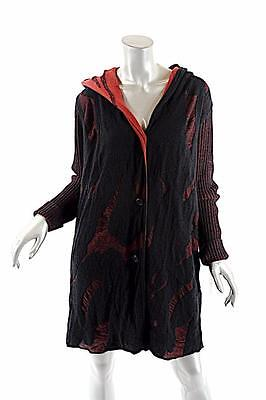 YOSHI YOSHI by PJ Black/Red Wool Blend Hooded Cardigan Sweater - NWT - S - $439