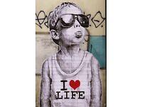 Banksy Poster I Love Life Boy Street Art A2 Size Paper Laminated Encapsulated Print Graffiti