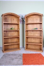 DELIVERY OPTIONS - 2 X MATCHING PINE BOOKCASES SOLID STURDY FIXED SHELVES