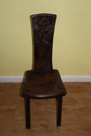 CAN DELIVER - VERY RARE BEAUTIFUL ANTIQUE CHAIR WITH CARVED DEER IN VERY GOOD CONDITION