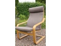 Armchair, Ikea 'Poang', Brown Fabric, Oak Veneer
