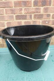 New Useful Black Plastic Bucket with Handle useful in Garden or Horse Stables etc, Histon