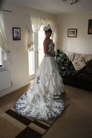 Black & ivory wedding dress n bridesmaid dresses