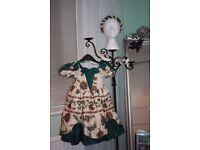 BESPOKE ' LITTLE BO PEEP ' BRIDESMAID DRESS / SHOES / HEADBAND ( for 3 - 4 year old )