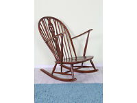 VINTAGE 50 s/60 s ERCOL ROCKING CHAIR VERY RUSTIC GREAT PAINTING PROJECT - CAN COURIER