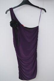 One Shoulder Purple Party Dress