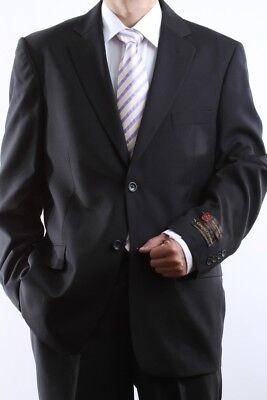 MENS 2 BUTTON SUPER 150S EXTRA FINE BLACK DRESS SUIT 40L, PL-60512N-BLK