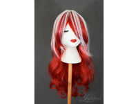 Stylish high quality, long red and white wavy cosplay and party wig