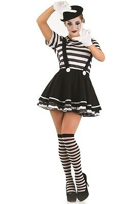 Ladies Sexy Mime Circus Halloween Fancy Dress Costume Outfit UK 8-26 Plus Size