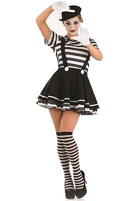 Mime Halloween Outfit (Ladies Sexy Mime Circus Halloween Fancy Dress Costume Outfit UK 8-26 Plus)