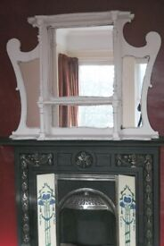Large Antique Victorian Art Nouveau shabby chic white painted overmantel mirror