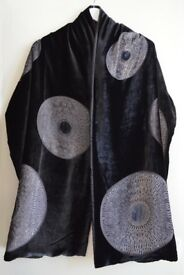Black Velvet Evening Shawl with Grey Circles