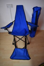 Two Blue Camp Chairs with Footrests