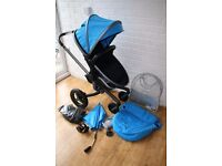 Silver Cross Surf 2 graphite pushchair - sky blue **can post**