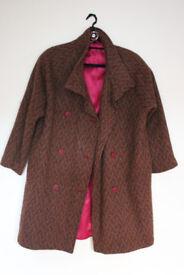 Tan/Maroon/Black Herringbone Tweed Woollen Coat With Contrast Lining
