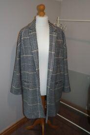 Check River Island Dress Coat. Size 16