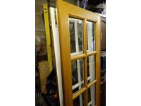Double re bated glazzed oak doors, used, including hardware internal