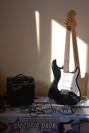 Fender Electric Squier Strat Guitar and Amplifier
