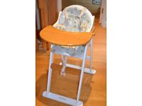 Mothercare high chair wooden excellent condition with padded seat cover and includes harness