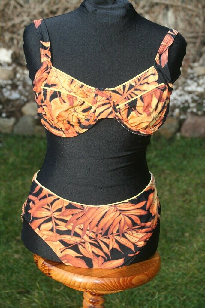 BK SPORT BIKINI Gr. 44 Palmen orange schwarz