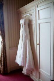 Lace ivory wedding dress, empire line.