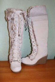 Ladies ALDO Beige Suede Knee High Wedge Heel Boots UK 7 . Hardly worn.