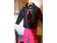 Girls Pink and Black ski outfit