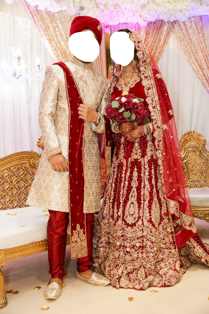 Asian Bridal Wedding Dress With A Trail Traditional Red Groom