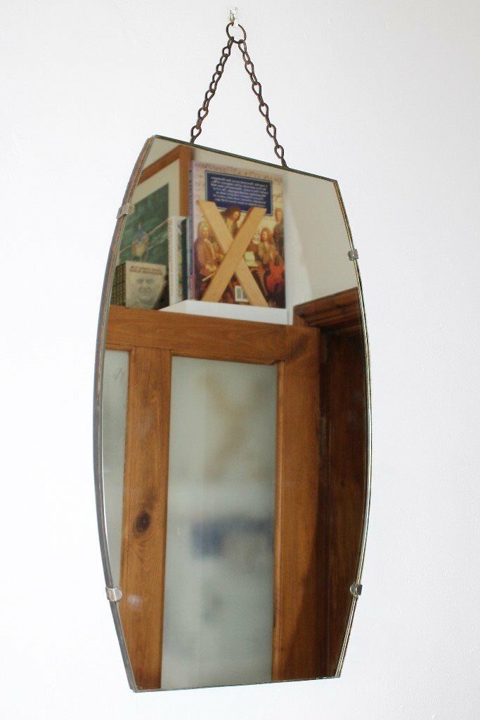 "C1940s Frameless Vintage Mirror (Size Approx.: 20""x12"" x 1"")"