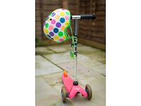 Pink Mini Micro Scooter & Neon Dot Helmet (excellent condition)
