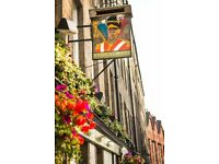 Full-time Bar/floor staff required for summer months in busy Royal Mile Pub.