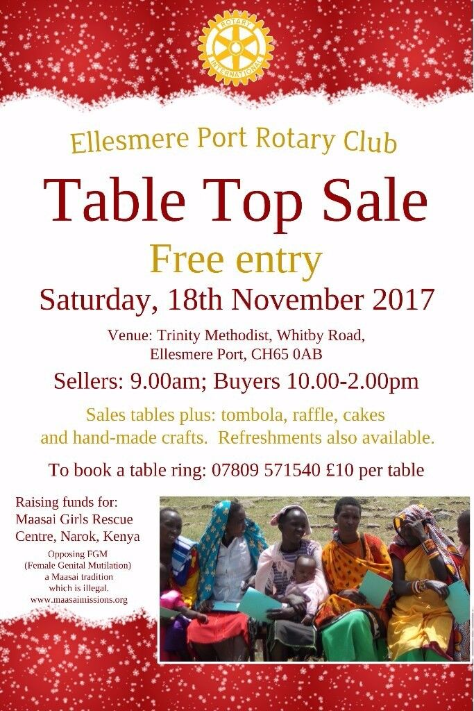 Rotary Table Top Sale on Saturday, 18th November 9am (sellers) 10-2pm (buyers) tables £10 see image
