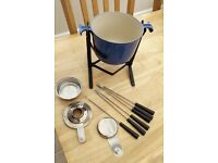 Vintage Le Creuset Fondue Set with 6 Forks in blue.