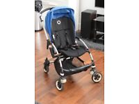 Bugaboo Bee 2011 blue with cocoon, footmuff, rain cover, parasol