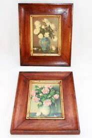 """Two Vintage Shabby Chic Pictures with Flowers in Vases (size 8"""" x 9 ½"""")"""